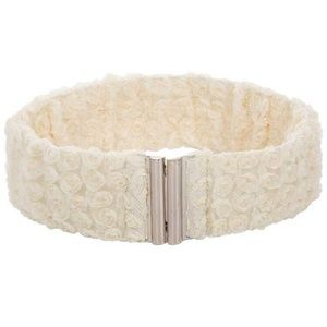 Womens Lace Waist Belt Stretchy with Metal Buckle